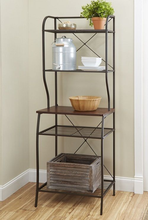 Bakers Rack Kitchen Storage Pantry Shelf Microwave Metal Stand Shelves Dishes
