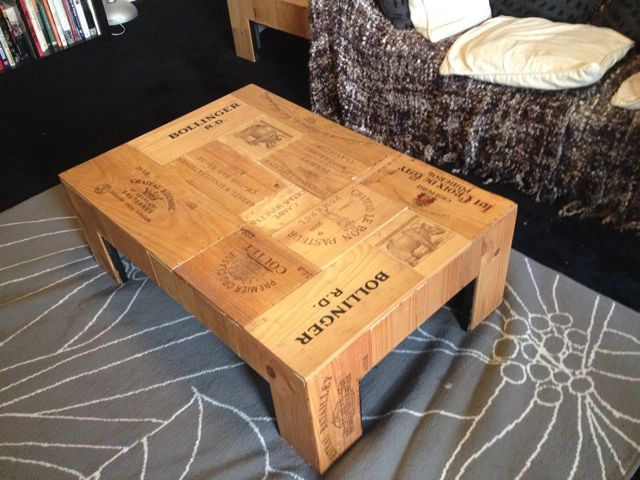 Coffee Table Made Entirely out of Wine Crates (Blank sides and all) www.