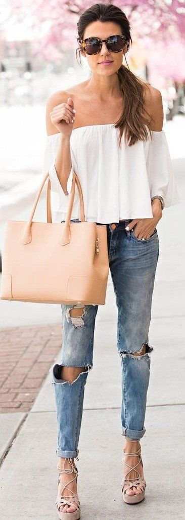 #spring #outfits White Off The Shoulder Top + Destroyed Jeans
