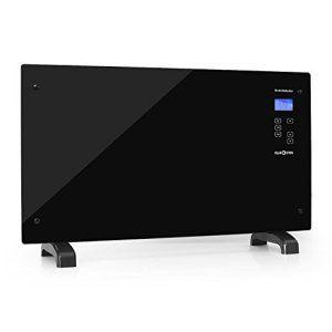 Klarstein HT007GL – Radiateur électrique / convecteur ultra-plat avec touchpad et sécurité enfant (2000W, verre noir design)