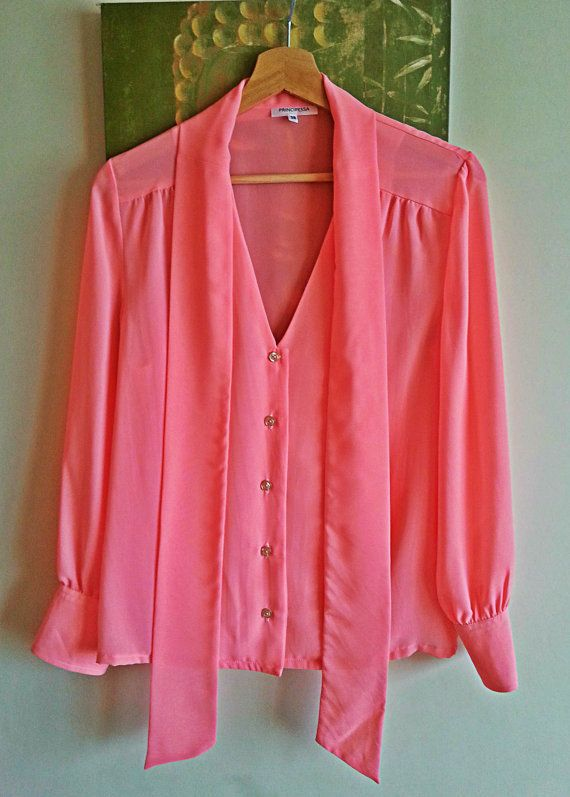 Pink Voile Draped Neck Ties Blouse Pink Voile by PrincipessaLabel, $45.00