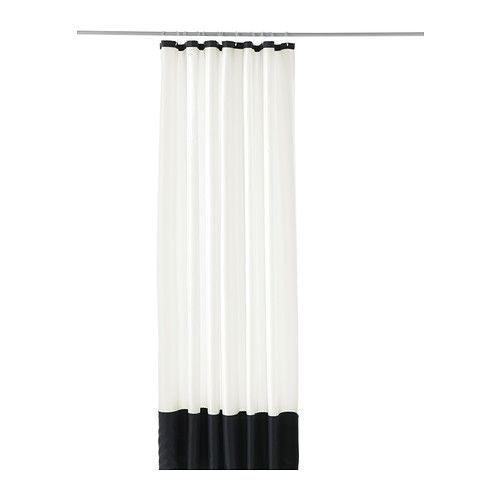 for hallway bathroom (with black and white starburst wallpaper) / FÄRGLAV Shower curtain IKEA