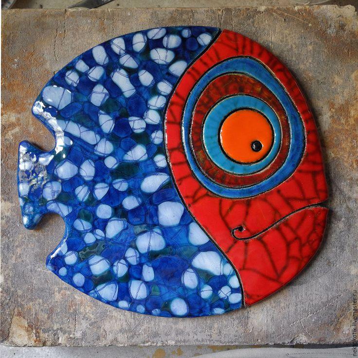 Керамическое панно «Пятнистая Рыба» - Керамика, рыба, весёлая, красный, синий, кракле, шамот