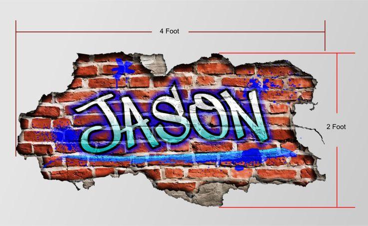 Custom graffiti name personalized brick wall art bedroom for Custom wall mural decals