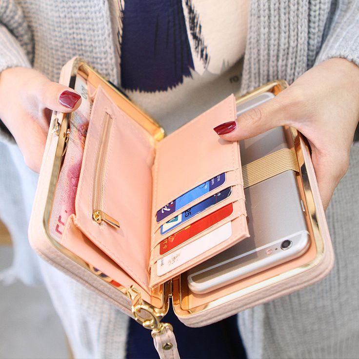 Titulares de la tarjeta monedero de la cartera femenina famosa marca regalos para mujeres bolsa de dinero de bolsillo del teléfono móvil del embrague