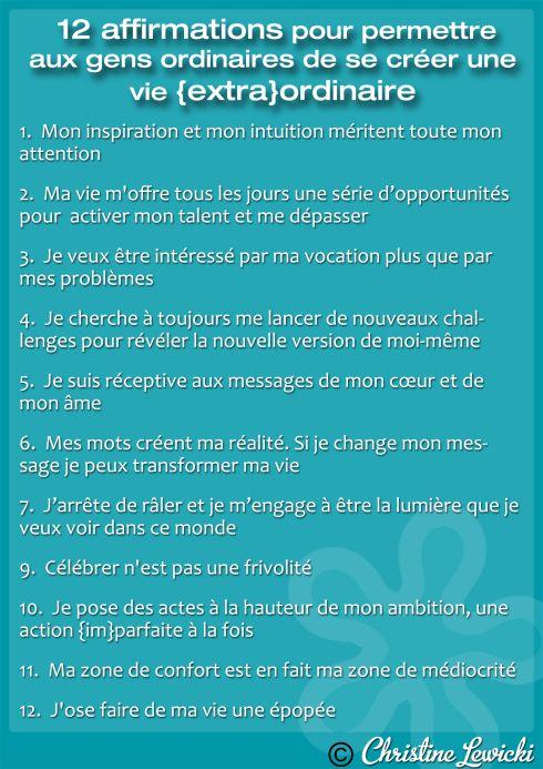 12 Affirmations pour se créer une VIE {EXTRA}ORDINAIRE