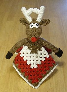 Reindeer Lovey Blankie by Knotty Hooker Designs - This pattern is available for $2.50 USD. It measures appx. 14 inches squared. Perfect for the diaper bag, car ride, crib or whatever tickles your fancy. It's smaller size makes it the perfect carry along companion for your little one. They work up quickly and easily!