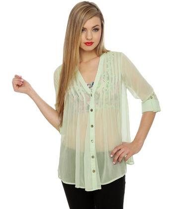 #luluslove #teal http://www.lulus.com/products/olive-oak-national-monu-mints-sheer-mint-green-top/48557.html