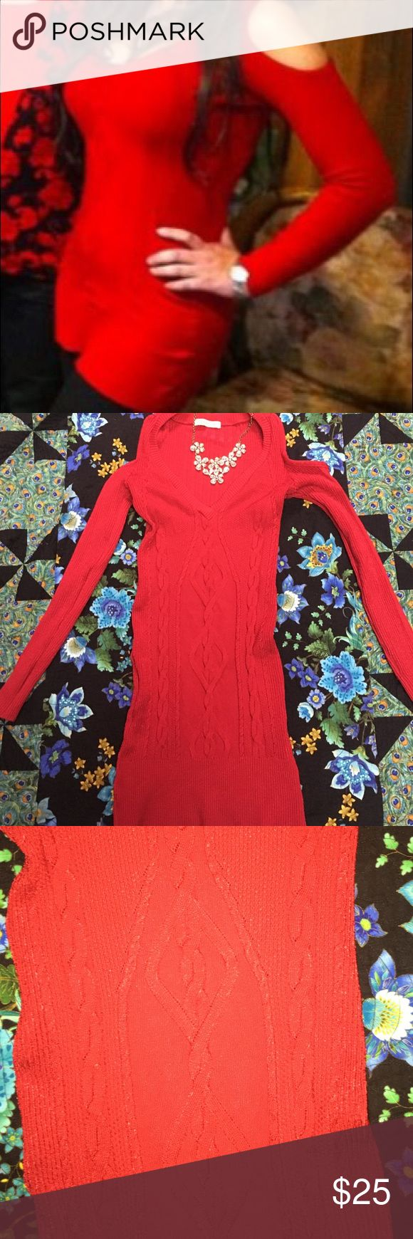 Cold Shoulder Bodycon Tunic Red Tunic Sweater w cold shoulder cut outs & V-neck. Size M. Worn once Tops Tunics