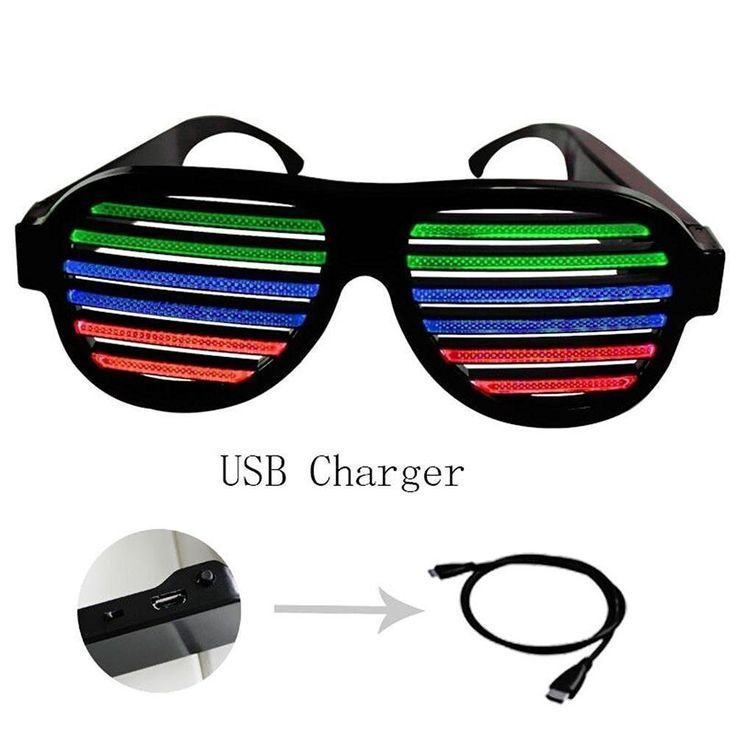 POOME LED Glow Party Glasses Sound Active Light Up Flashing Glasses LED Musical Shades Sound with USB Charger Best Toy for Teens Party Supplies (Black)