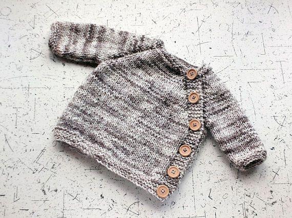 Gray Baby cardigan  Baby sweater  Puerperium sweater  Hand