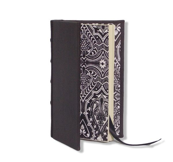 New! Slimline Journal - Black with matching decorative endpapers.  Personalise with embossing #boundinbendigo