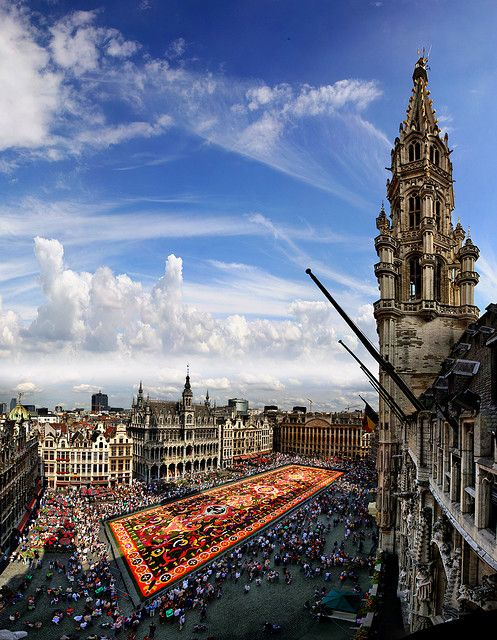 Shadow of the city hall on the carpet flower, Great Market, Brussels, Belgium    Every 2 years, on the 15th of August, the city of Brussels is organizing on the great market this carpet flower composed of 700.000 begonias.  42 pictures Stitched covering about 130°x150°  By gbatistini on Flickr