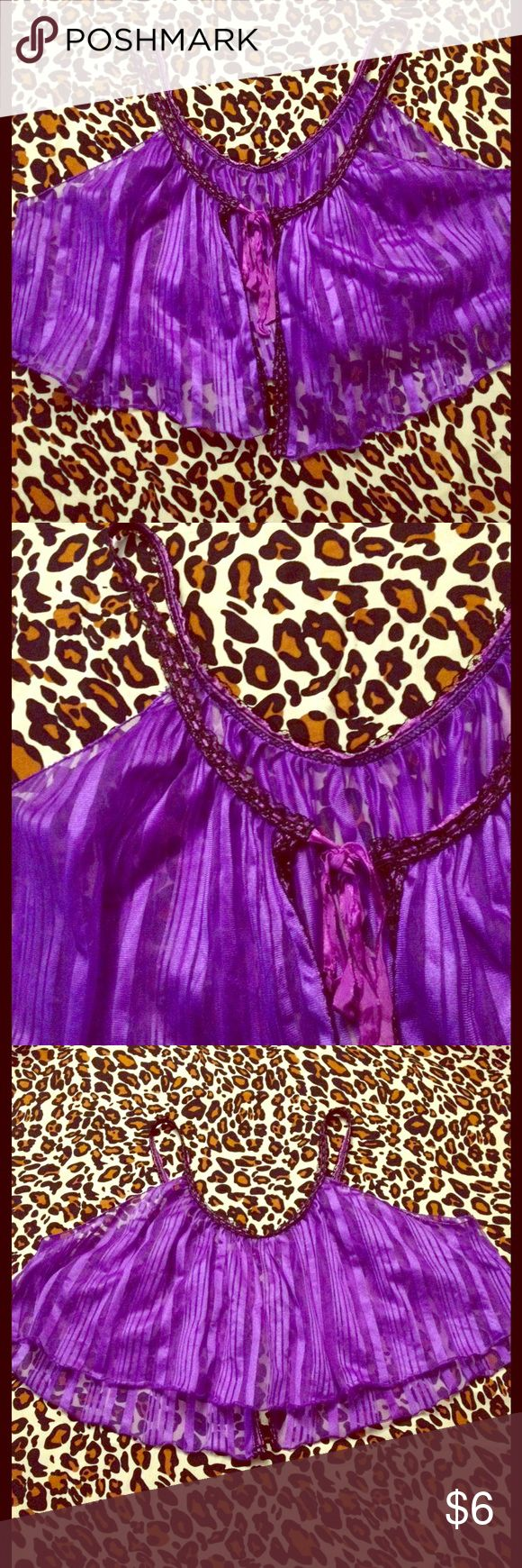 Vintage Purple Cropped Lingerie Top One size, sort of a trapeze style, only closes with the ribbon at neckline. Excellent Vintage Condition Vintage Intimates & Sleepwear Chemises & Slips