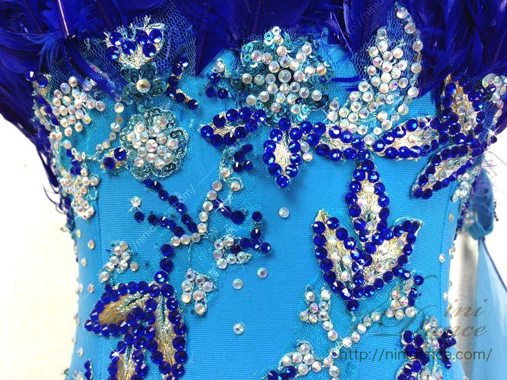 D117注目集める羽根つき青のグラデーションモダンドレス : 社交ダンスウェアNiniDance