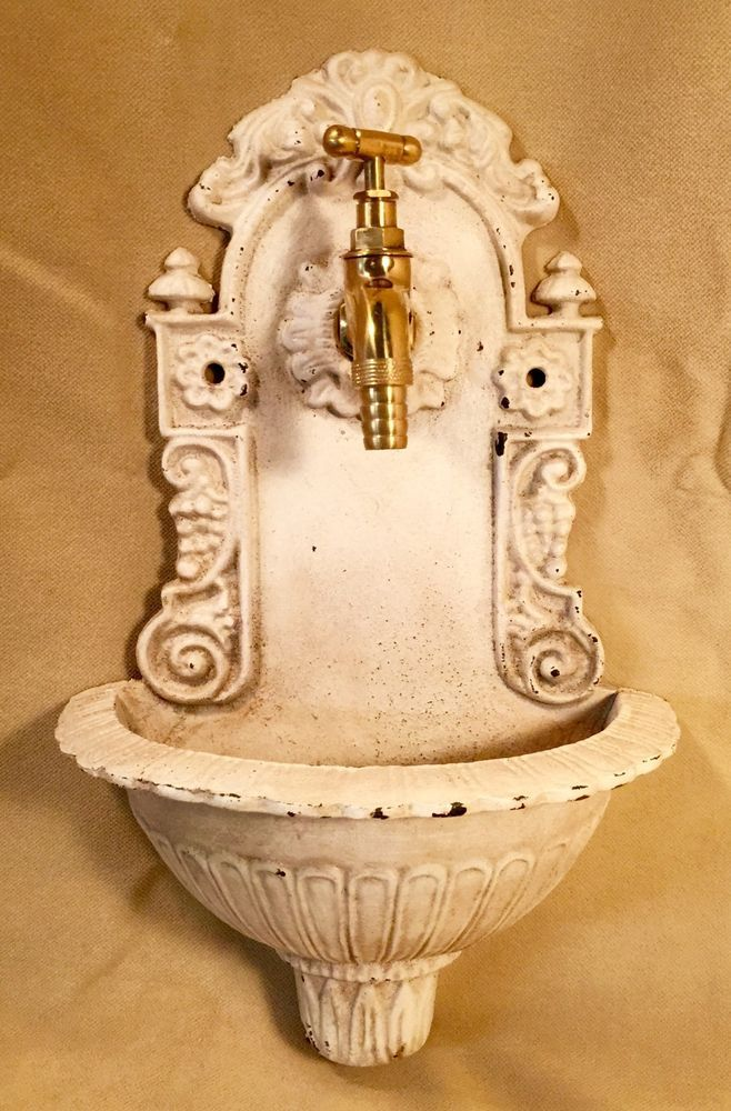 Cast Iron Antique-White Victorian Wall Fountain With Brass Faucet, Home Decor