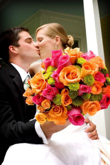 Pink, orange & green bouquet