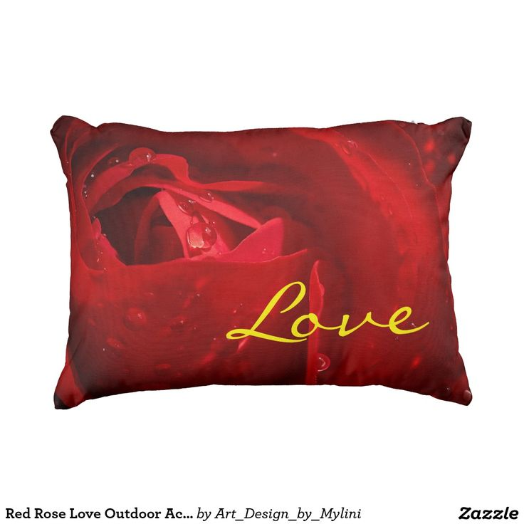 "Red Rose Love Outdoor Accent Pillow 16"" x 12"""