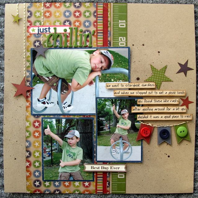 kraft cardstock and primary colors: Primary Colors, Boys Layout, Cute Boys, Kraft Paper, Papercraft Scrapbook, Scrapbook Layout, Boys Scrapbook, Photos Layout, Kraft Cardstock