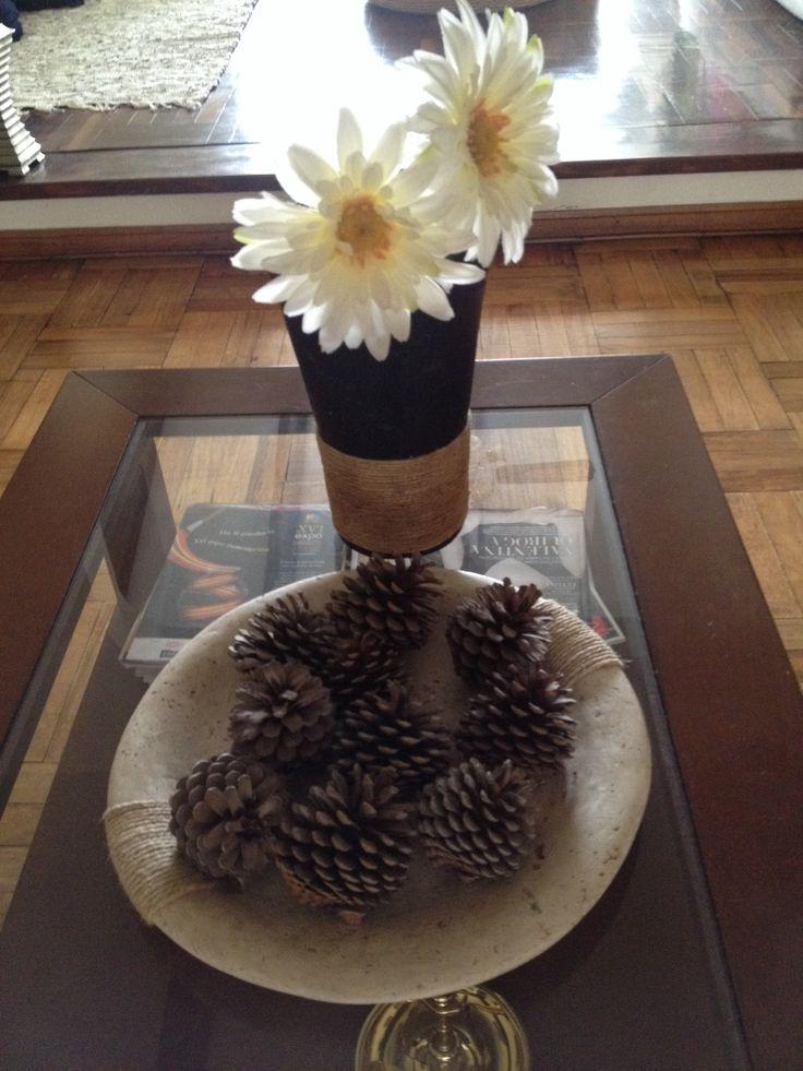 Centro de mesa económico, ideal para el otoño. Se ven lindos en base de madera, mimbre o algo cálido.
