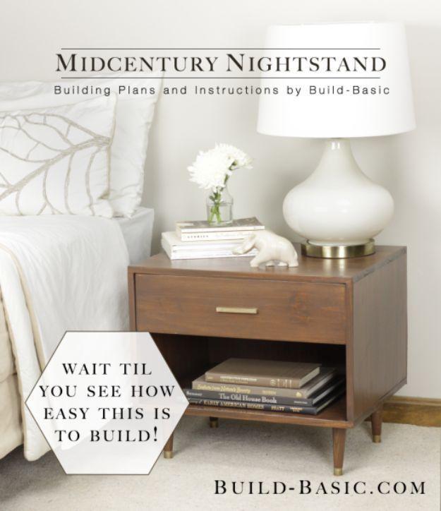 DIY Nightstands for the Bedroom – Midcentury-Style Nightstand – Easy Do It Yours…