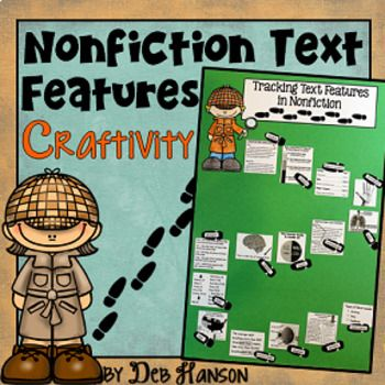 This activity puts a fun spin on identifying nonfiction text features!  It also makes a creative bulletin board or school hallway display!  It can even be used as a valuable addition to your students' interactive notebooks!   Students begin by completing the worksheet where they identify the following 18 text features: Table of Contents Title Page Glossary Index Photograph Illustration Caption Diagram Label Map Timeline Words in Bold Words in Italics Bulleted Words Heading Subheading ...