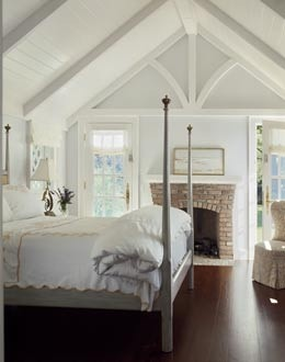airy, wood ceiling, fireplace: Idea, Attic Bedrooms, Guest Bedrooms, Cottages Bedrooms, Ceilings Details, Fireplaces, Traditional Bedrooms, Master Bedrooms, Wood Ceilings