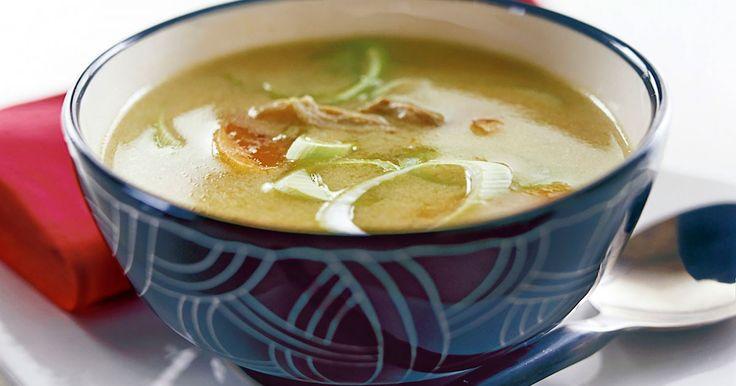 Kyckling, som heter gai på thailändska, blir här till en supergod soppa med smak av kokosmjölk, ingefära och lime.