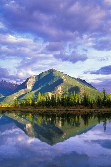 Sulphur Mountain reflected in the Third Vermillion Lake. Banff National Park, Alberta, Canada.  Photo: Jerry Mercier via Flickr