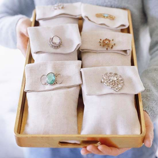 Beautified Bags  Sachet bags sewn from linen, filled with lavender or balsam, and secured with vintage brooches make great party favors or hostess gifts. Or make some for yourself using a loved one's jewelry to create a sweet-smelling reminder of that person.