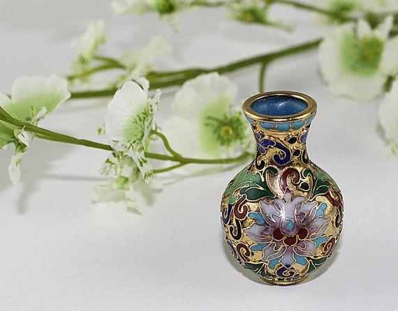 Miniature Cloisonne Vase, Mini Ethnic Vase Gold Tone Enamel Ware Vase, Small Asian Vase
