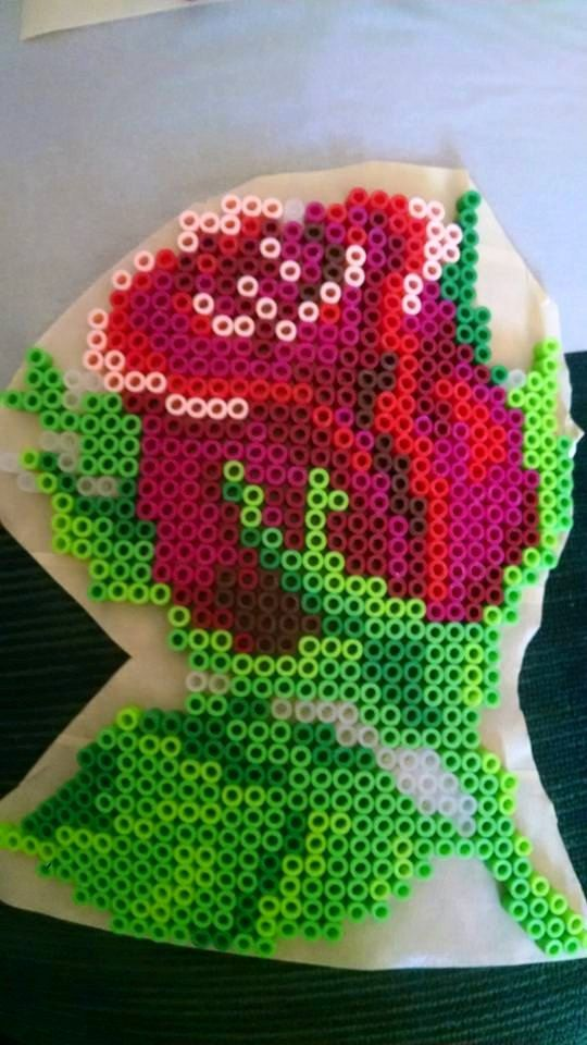 Rose flower perler beads by CuriousSewsandKnits