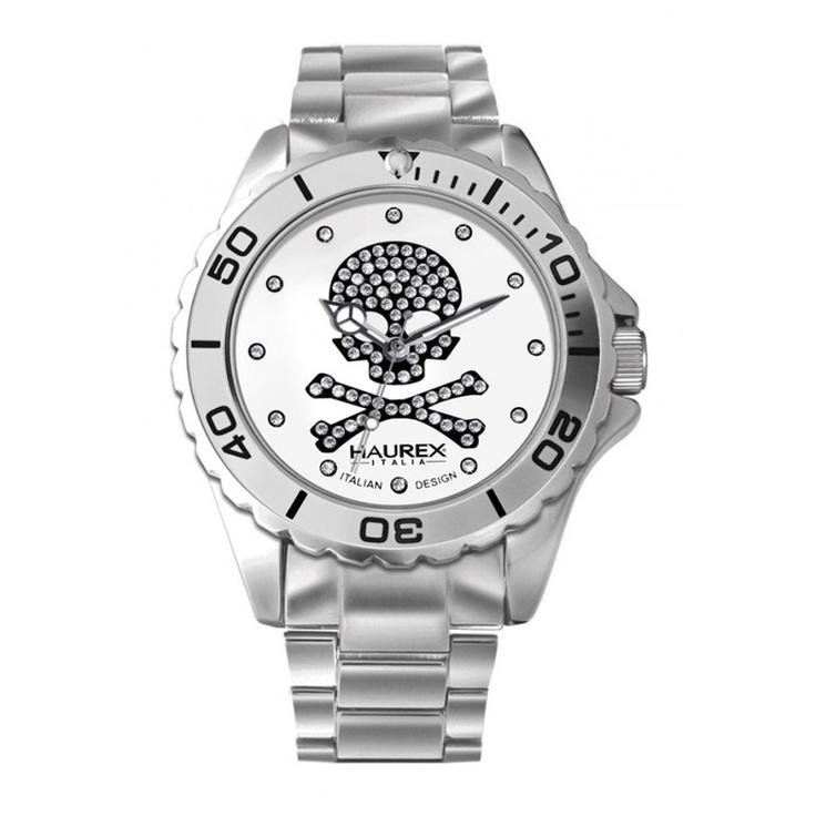 Haurex INK Lady 7K374DWS zilverkleurig horloge met doodskop (gratis verzending)