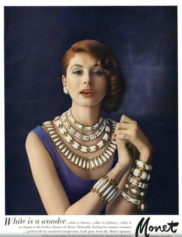 Suzy Parker, Monet Jewelry Ad, Vogue, April 15, 1957   Monet jewelry,  Jewelry ads, Suzy parker