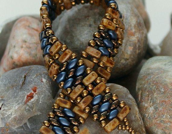 Czechmate brique et Superduo Bracelet manchette ; Tissage ; Bracelet bleu ; Bracelet beige ; Band Bracelet ; Bracelet de tuiles ; Bracelet manchette en perles