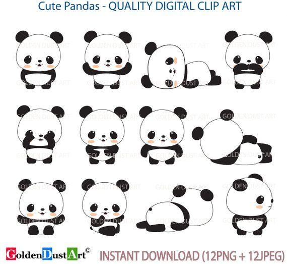 Panda Clip Art Panda Clip Art Panda Clipart Cute Panda Kawaii Panda Kawaii Clip Art Baby Panda Clipart Pnd03 Cute Panda Kawaii Panda Panda