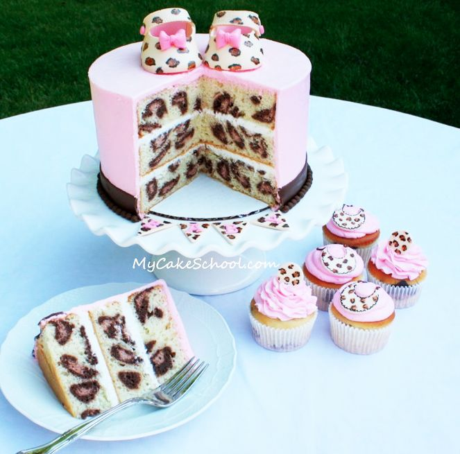 this just proves, it's on the inside that counts- the coolest leopard print cake!