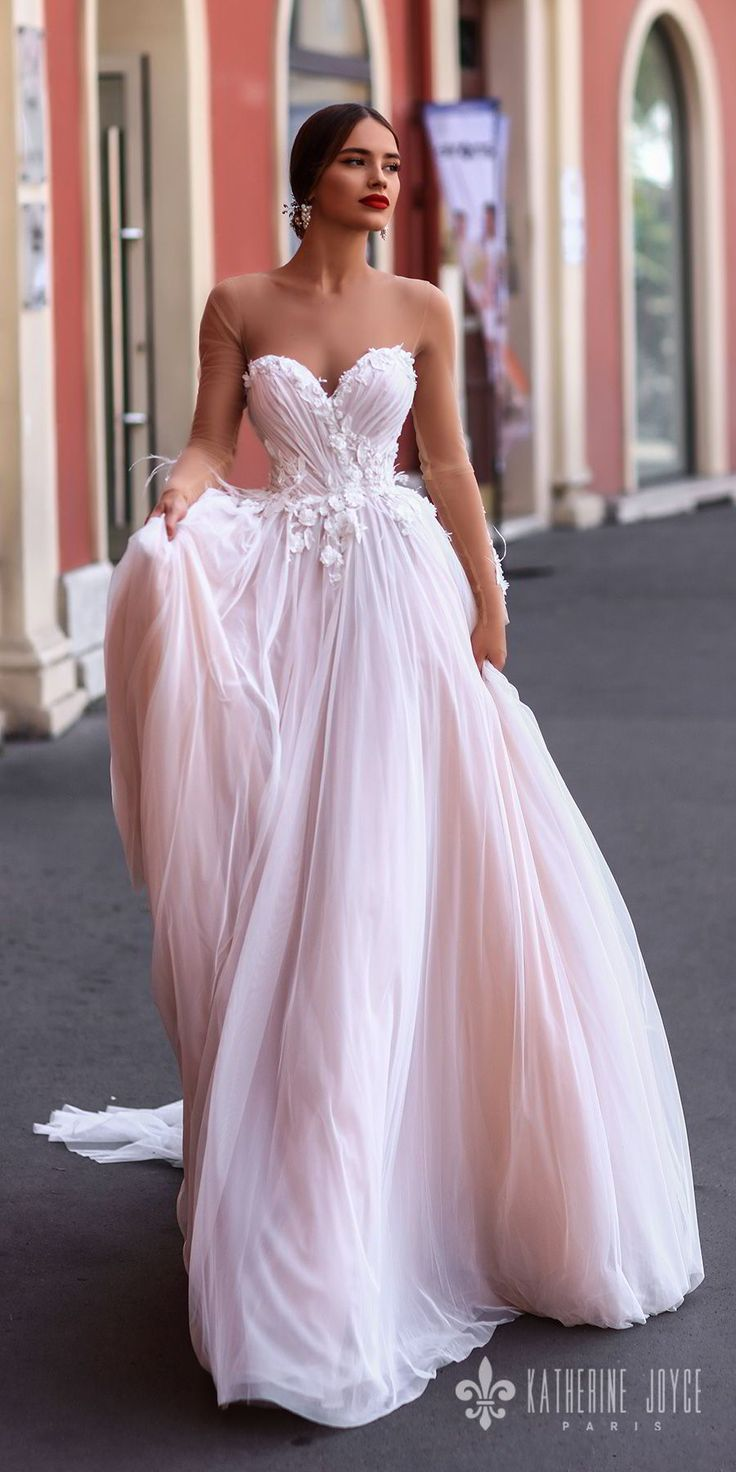 katherine joyce 2018 sheer long sleeves illusion bateau strapless sweetheart neckline heavily embellished bodice romantic pink a line wedding dress sheer button back chapel train (catalina) mv -- Katherine Joyce 2018 Wedding Dresses