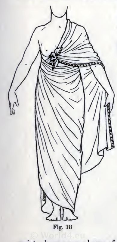 An Egyptian woman wearing a dress showing of a breast.