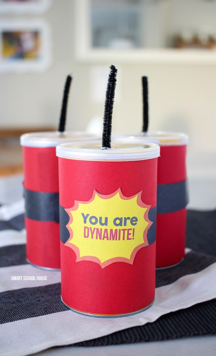 How to make a You Are Dynamite Pringles Can gift! ADORABLE! An easy Valentine's Day idea, kids party treat, or end of year gift for kids.