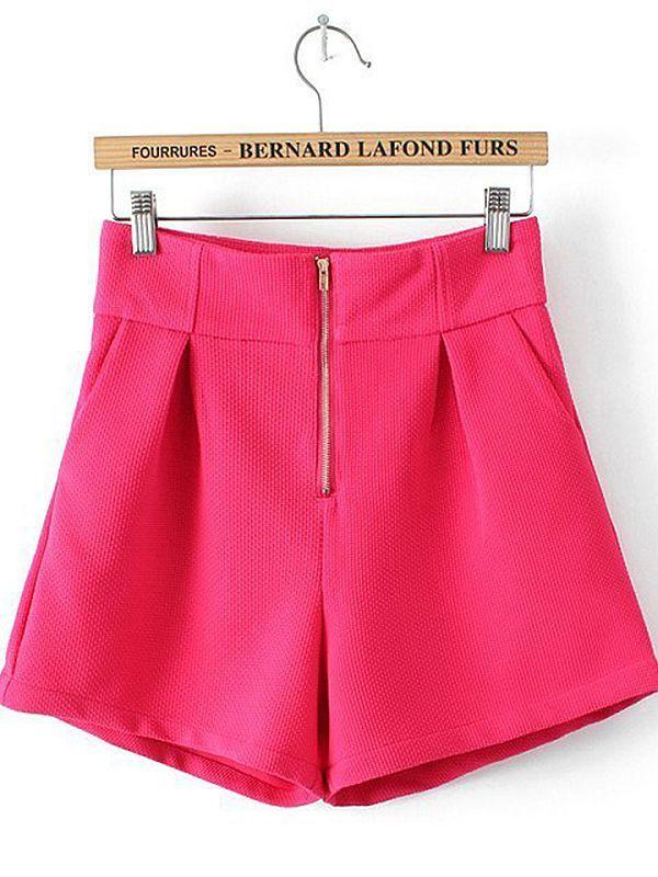 Zipper Fly High Waist Straight Shorts : KissChic.com