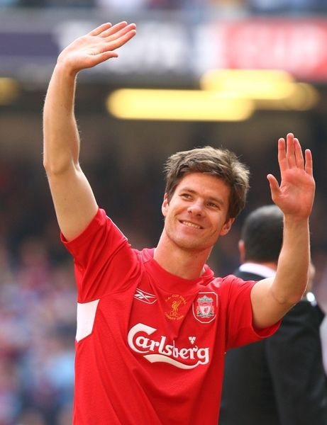 Liverpool's Xabi Alonso celebrates winning the FA Cup after a penalties victory over West Ham United #LFC