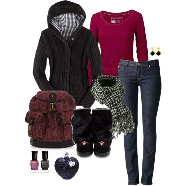 Raspberry and black winter outfit.