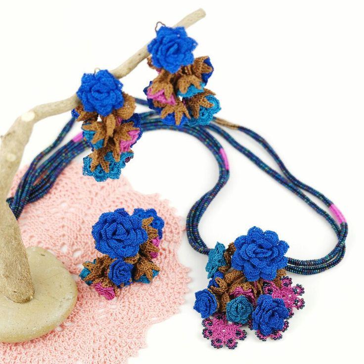 Floral Crochet Tassel Necklace Set 😉