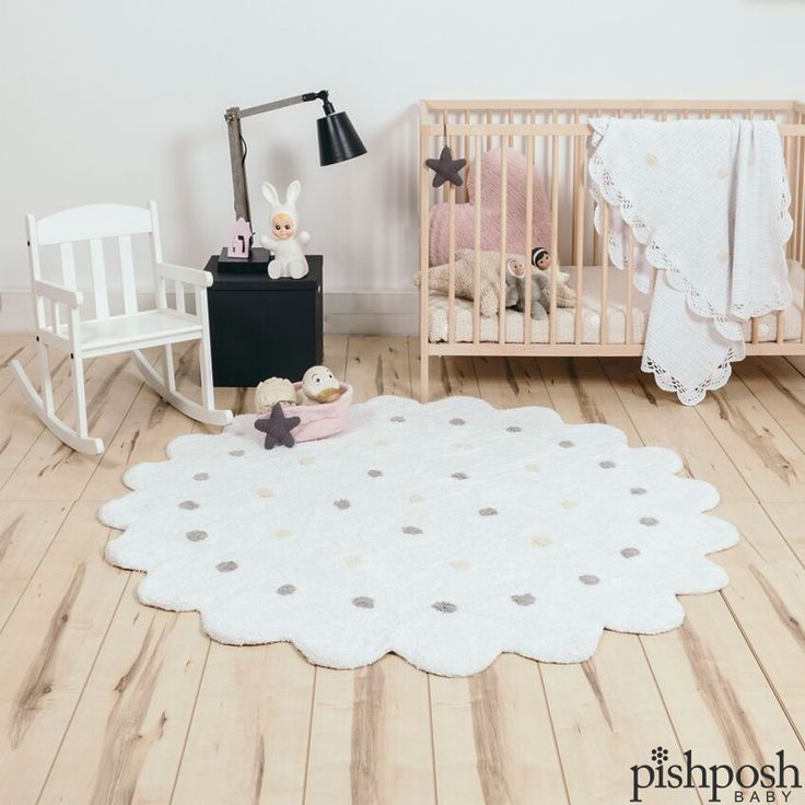 Nursery, kids' room, playroom, living room - the gorgeous and whimsical line of handmade Lorena Canals Rugs will complement any space in your home. Soft, artisan-crafted, 100% cotton, and yes - COMPLETELY MACHINE WASHABLE. You can start living your life normally now. Shown: Lorena Canals Galletita White Rug, priced at $200.  http://www.pishposhbaby.com/lorena-canals.html