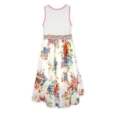 Girls' Sara Sara Neon High Low Dress - White/Floral XL, Girl's