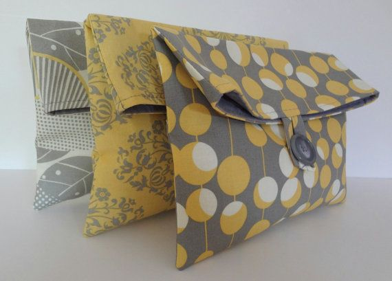Set of 3 Bridesmaid Bags in Amy Butler Fabrics - Yellow and Gray Wedding - Bridemaids Clutches. $50.00, via Etsy.