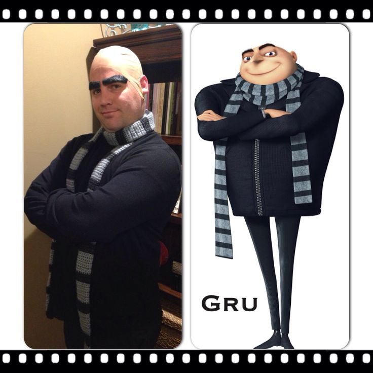 Felonious Gru. Gru, voiced by Steve Carell, is a former supervillain and the titular character in the Despicable Me series. The costume for Gru is probably the easiest one to throw together as you will likely have many of the pieces in your closet already. Start with a zippered black jacket on the top (a pea coat will do just fine too) and slim cut black pants on the bottom. The most essential part of the costume is .