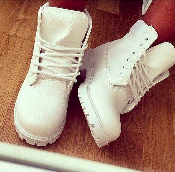 All white Timbs:
