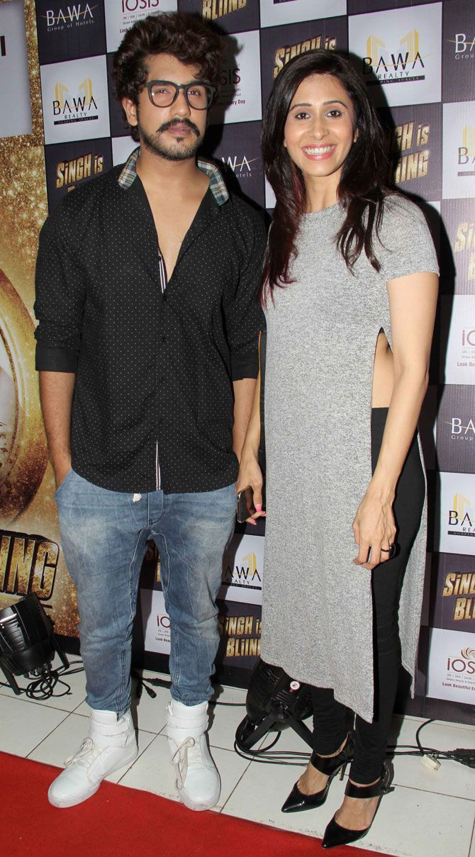Suyash Kumar and Kishwer Merchant at screening of 'Singh is Bliing'. #Bollywood #Fashion #Style #Hot